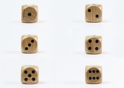 Wooden dice isolated on white background. One to Six wooden dice. 6 Retro wooden dice.