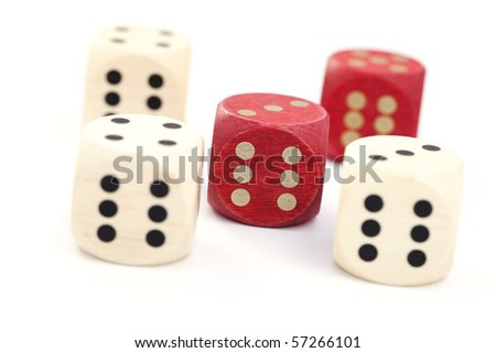 wooden dices on white background - leisure game #57266101