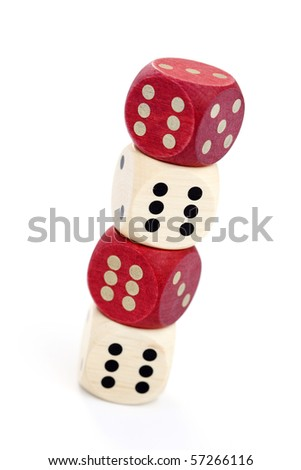 wooden dices on white background - leisure game