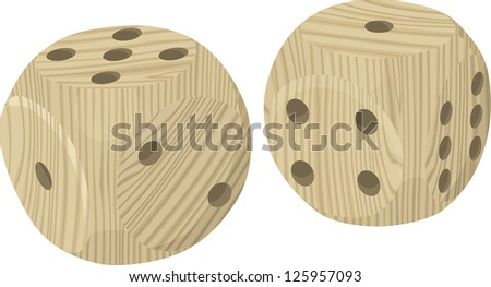Wooden dices. Raster version, vector file available in portfolio.
