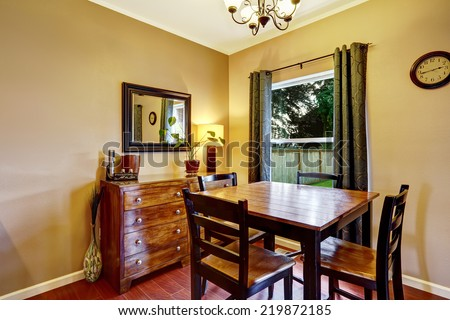 Wooden dining table set with cabinet and mirror #219872185