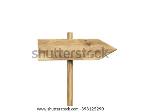 Wooden direction sign. Isolated. Concept of information. Mock up. 3D render