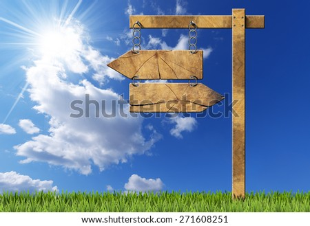 Wooden directional sign with two empty arrows in opposite direction hanging with a metal chain on a wooden pole on blue sky with clouds, sun rays and green grass