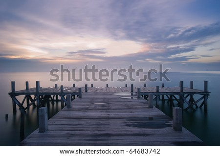wooden dock early morning