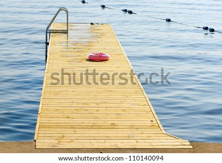 Wooden dock extending into a lake