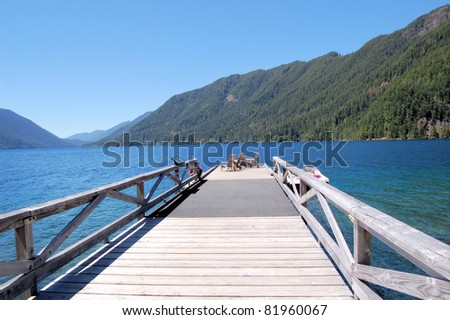 Wooden Dock with Chairs on Lake Crescent, Olympic National Park