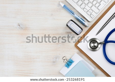 Wooden doctor desk with copy space