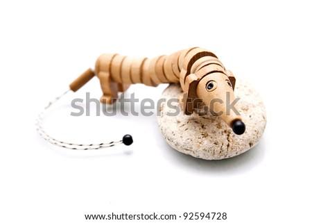 wooden dog dachshund isolated on white background