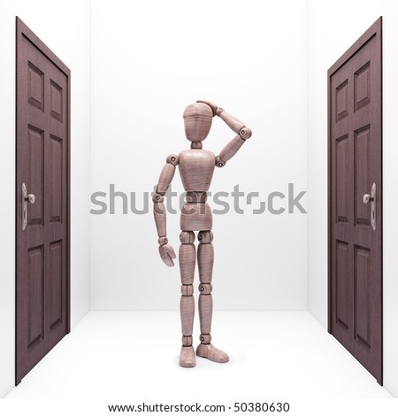 Wooden doll between two doors. Concept of choice and destination.