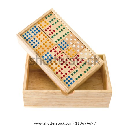 Wooden Domino in wooden box  isolated on white with a clipping path