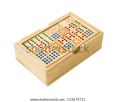Wooden Domino in wooden box  isolated on white with a clipping path.