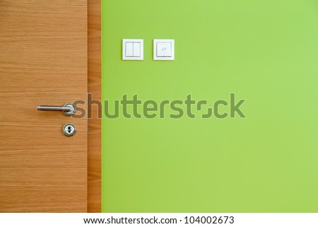 Wooden Door and Green Wall Copy Space
