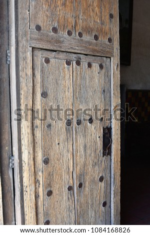 Wooden door at Mission San Xavier del Bac near Tucson Arizona