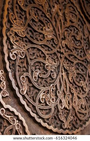 Wooden door, floral ornament, handmade carving