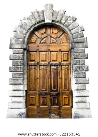wooden door in an old italian...