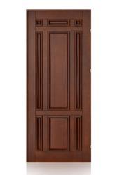 Wooden door isolated on white background. Modern interior design