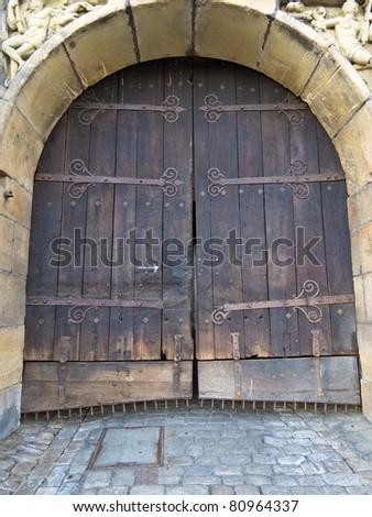 Wooden door of a castle