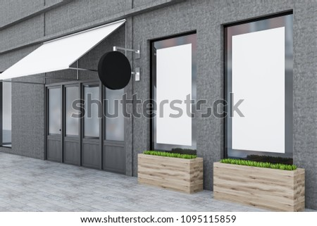 Wooden door of a gray restaurant with flowerbeds standing outside. A blank poster in the window. Small business concept. A side view. 3d rendering mock up