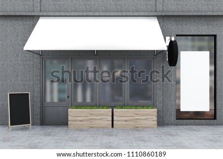 Wooden door of a gray restaurant with flowerbeds standing outside. A blank poster in the window. Small business concept 3d rendering mock up