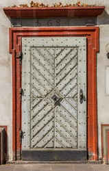 Wooden door of a historic house in Koblenz, Germany