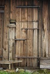 Wooden door of old barn