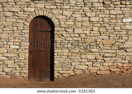 Wooden Door Stone Wall