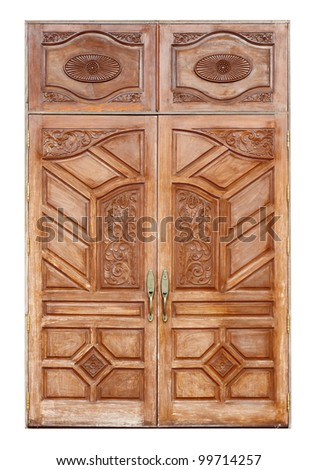 wooden door with ancient texture on white background
