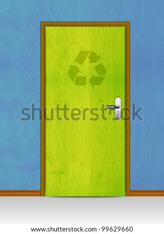 wooden door with recycle sign, conceptual image.