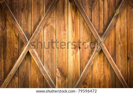 Wooden door with two crosses