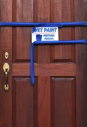 Wooden Door With Wet Paint Sign