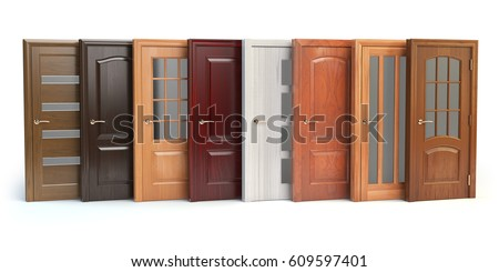 Wooden doors isolated on white. Interior design or marketing concept. 3d illustration