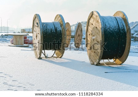 wooden drum for electric cables and wires, cable reel #1118284334