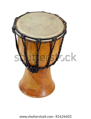 Wooden dumbek drum with a skin head isolated on white
