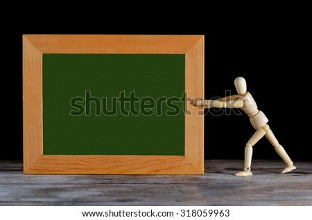 wooden dummy and wood frame text box free space for text, with Still Life style