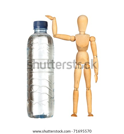 Wooden dummy with a big water bottle isolated on white background