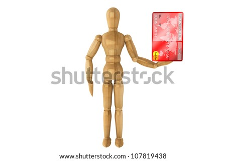 Wooden dummy with credit card on a white background