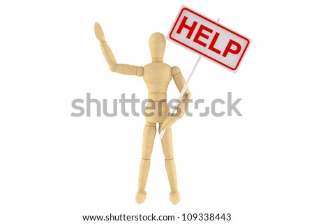 Wooden dummy with Help Banner sign on a white background