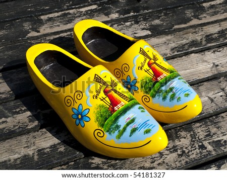 Wooden Dutch Shoes - stock photo