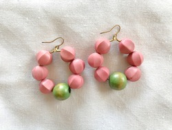 Wooden earrings DIY workshop handmade jewelry crafted work pastel green pink color clean hand craft by artisan