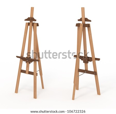 Wooden easel, empty, front and back, isolated on white, with clipping path, 3d illustration