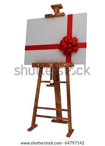 Wooden easel with blank canvas with red ribbon isolated on white 3d render