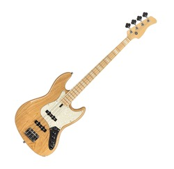 Wooden Electric Bass Guitar Isolated on White Background