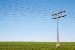 wooden electric pole standing on the field