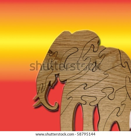 wooden elephant in sun