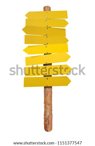 Wooden empty arrows on a log isolated on white #1151377547