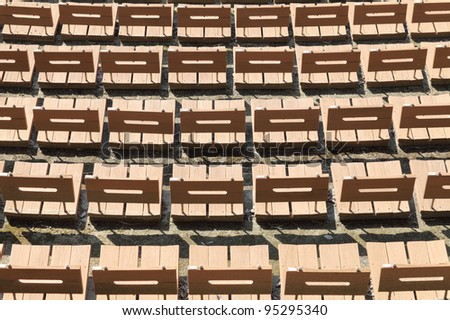 Wooden empty chairs