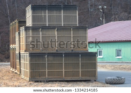 Wooden empty crates  #1334214185