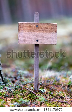 Wooden empty plaque in the forest, solitude, solitude, environmental protection #1341170972