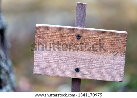 Wooden empty plaque in the forest, solitude, solitude, environmental protection #1341170975