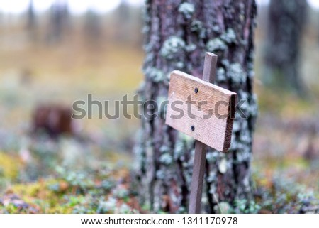 Wooden empty plaque in the forest, solitude, solitude, environmental protection #1341170978